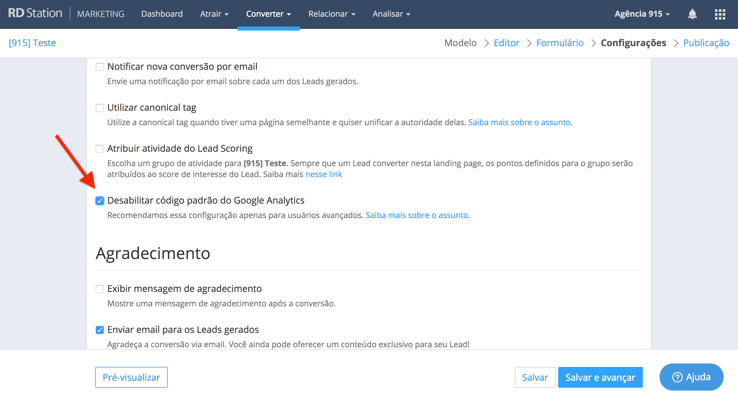 Desabilitando o Analytics padrão nas landing pages do RD Station